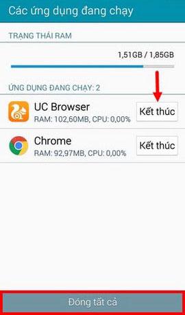 tắt ứng dụng chạy ngầm trên samsung