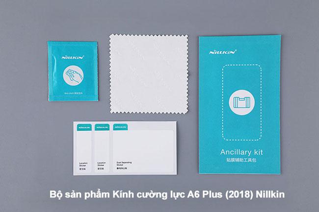 Nguyên bộ sản phẩm kính cường lực A6 Plus 2018 hiệu Nillkin