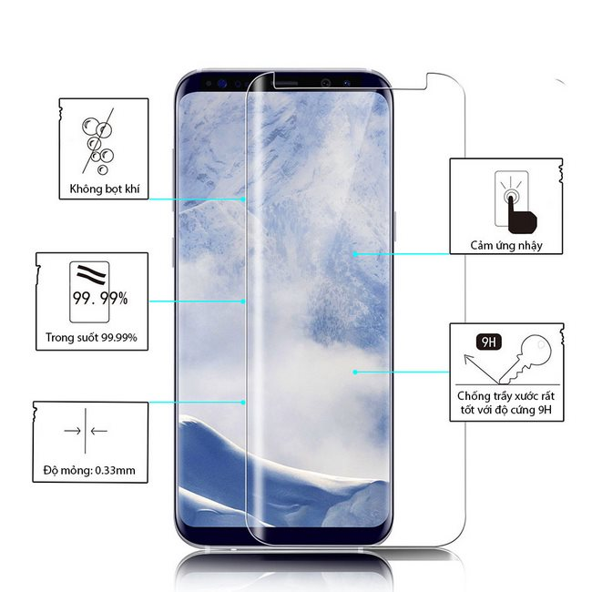 Kính cường lực Full keo Galaxy S9 Plus Rocky Mile trong suốt