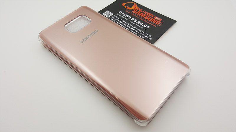 Mặt sau bao da Galaxy Note 5 clear view màu rose gold