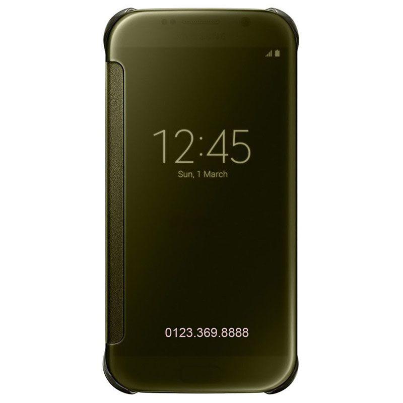 Bao da Clear View cover Galaxy S6 màu vàng đồng