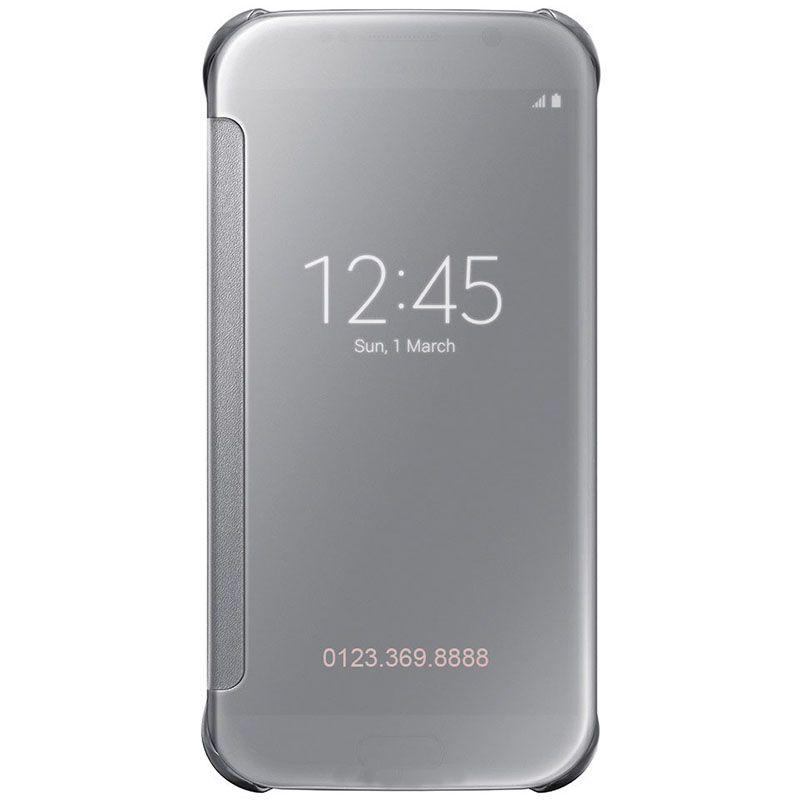 Bao da Clear View cover Galaxy S6 màu trắng bạc
