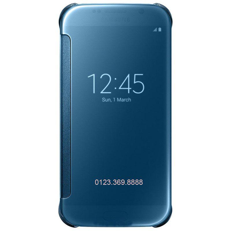 Bao da Clear View cover Galaxy S6 màu xanh