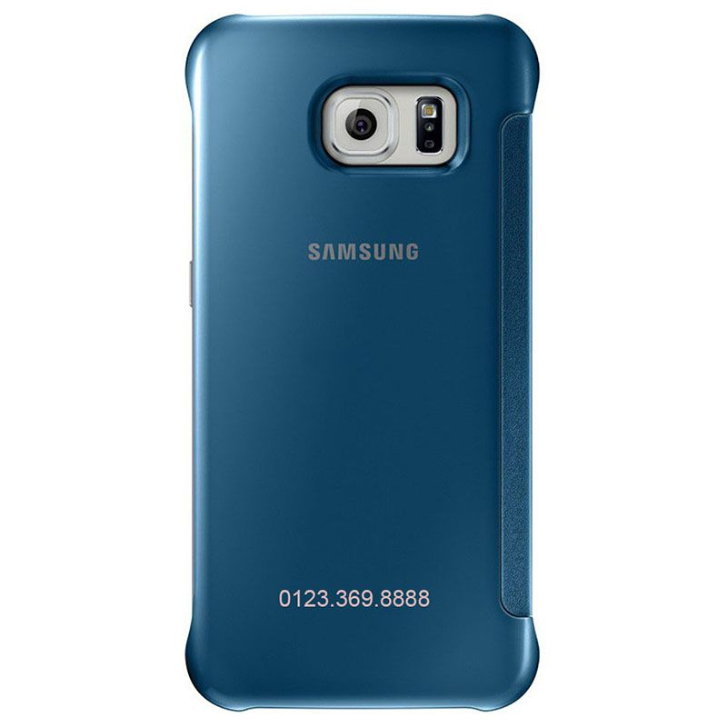 Bao da Clear View cover Galaxy S6 màu xanh mặt sau