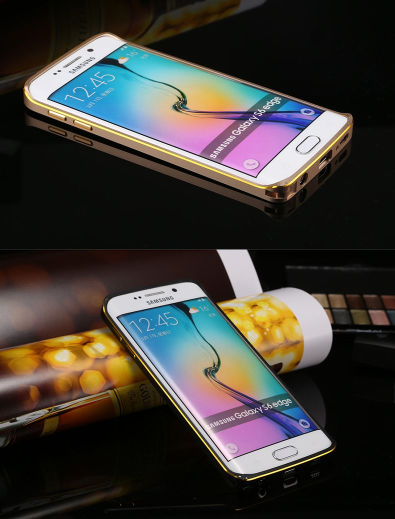 Ốp viền nhôm chỉ vàng bo tròn Samsung Galaxy S6 G925