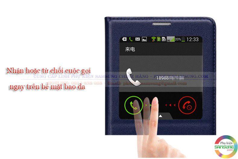 Bao da S View note 4 dễ dàng nhận cuộc gọi ngay trên bề mặt bao da