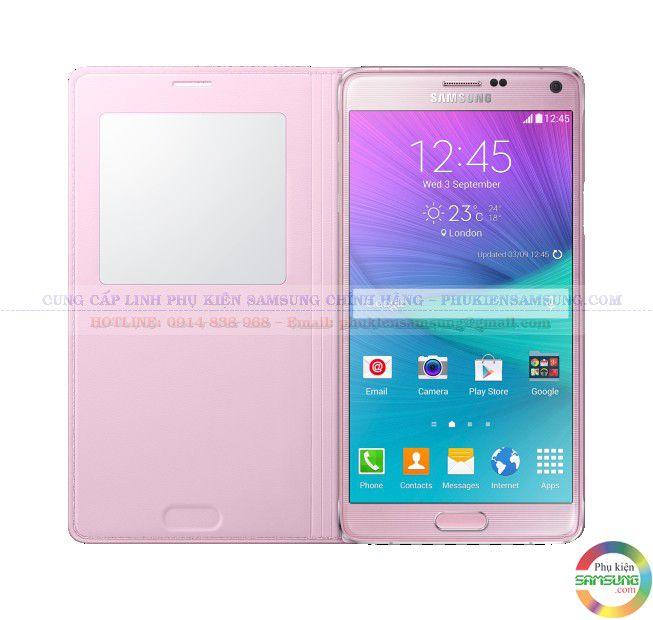 Bao da S View Note 4 màu hồng