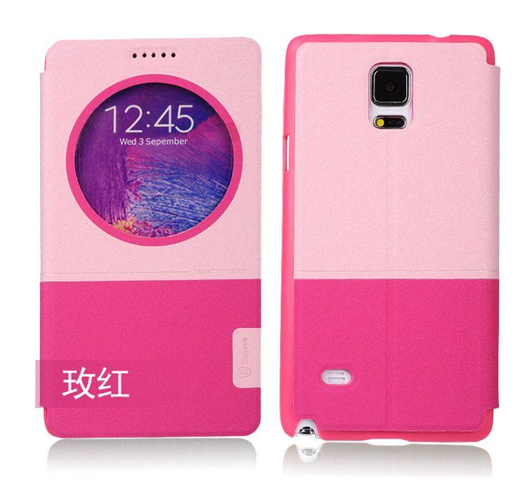Bao da Baseus S View cho Galaxy Note 4 màu hồng