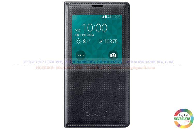 Bao da S View cover Galaxy S5 màu đen chấm bi