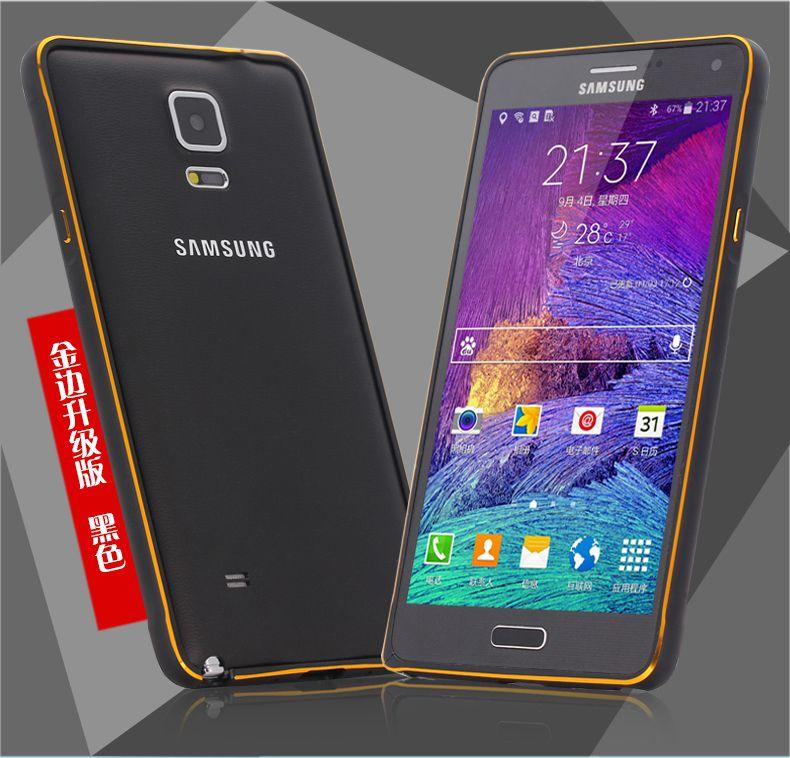 Ốp viền Galaxy Note 4 màu đen được tô đậm thêm chỉ vàng mang lại vẻ đẹp sang trong, cao cấp