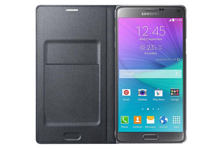 Bao da Samsung Galaxy Note 4 Led Flip Wallet black mặt trong