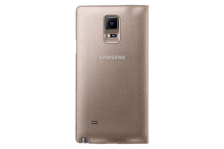 Bao da Galaxy Note 4 Led Flip Wallet Gold mặt sau