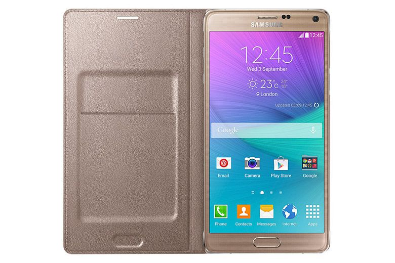 Bao da Galaxy Note 4 Led Flip Wallet Gold mặt trong