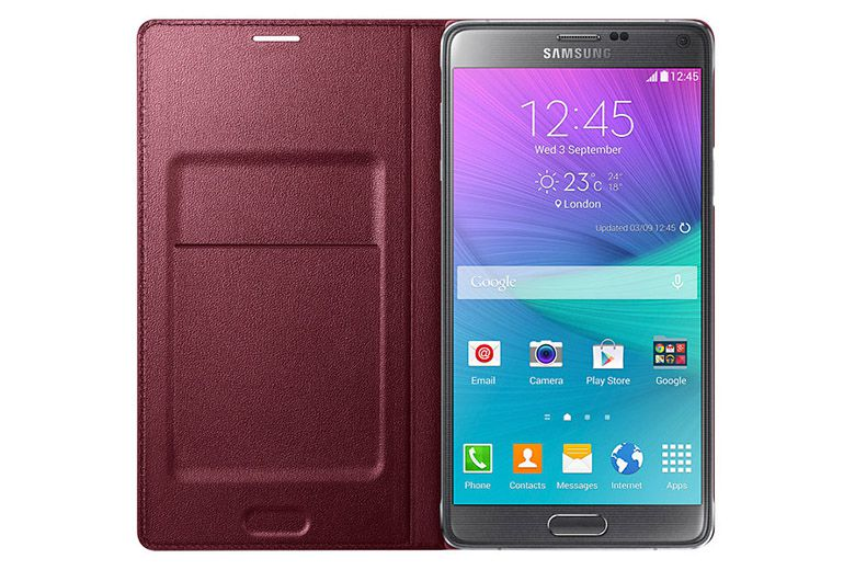 Bao da Led Flip Wallet Galaxy Note 4 Red mặt trong