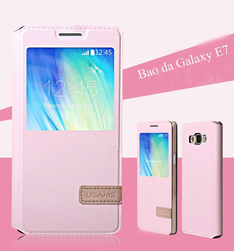 bao da galaxy e7 hiệu usams màu hồng